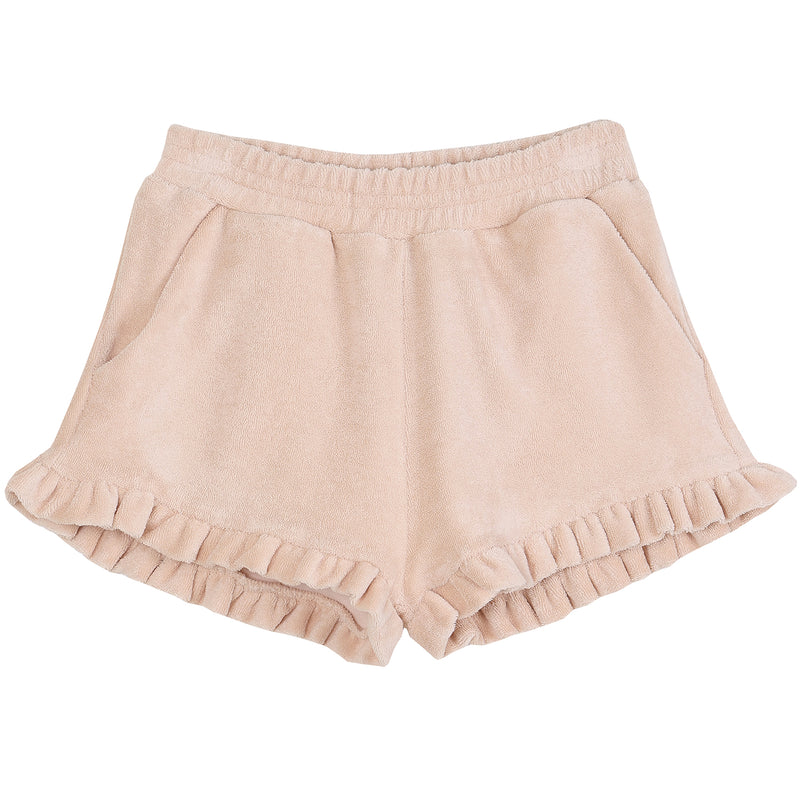 yoya, kids, girls, emile et ida, summer, terry cloth, casual, ruffle hem, pull on, shorts