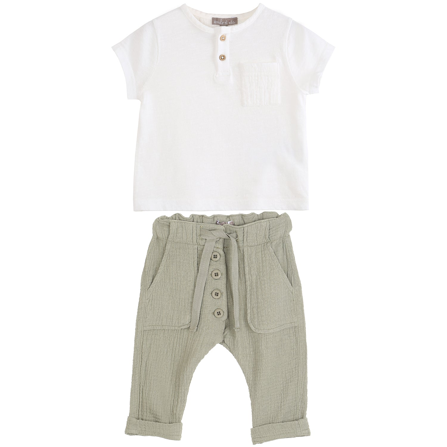 yoya, kids, baby, boys, girls, emile et ida, casual, summer, t-shirt, creped, soft pants, outfit set