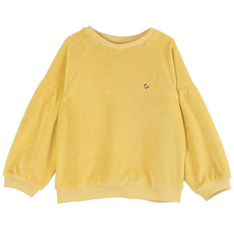 yoya, kids, girls, emile et ida, summer, lightweight, casual, embroidered, cherry, logo, terry cloth, bubble sleeve, crewneck, pullover, sweatshirt