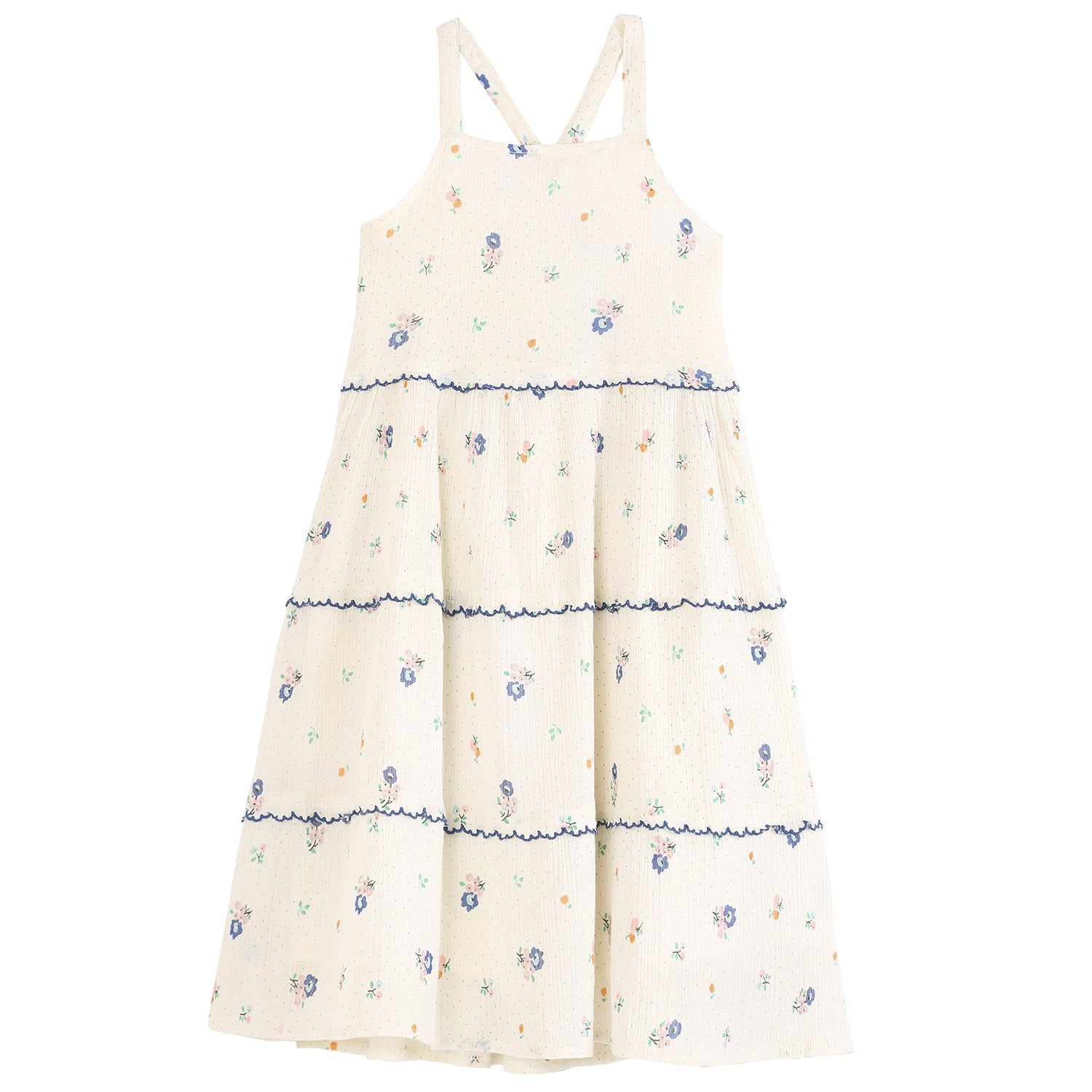 yoya, kids, girls, emile et ida, summer, embroidered, floral printed, tiered apron, dress
