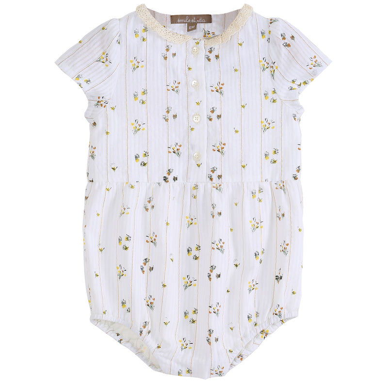 yoya, kids, baby, girls, emile et ida, lightweight, casual, floral print, button front, romper