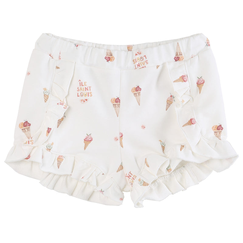 yoya, kids, girls, emile et ida, lightweight, summer, graphic printed, ruffled, pull on, sweat shorts