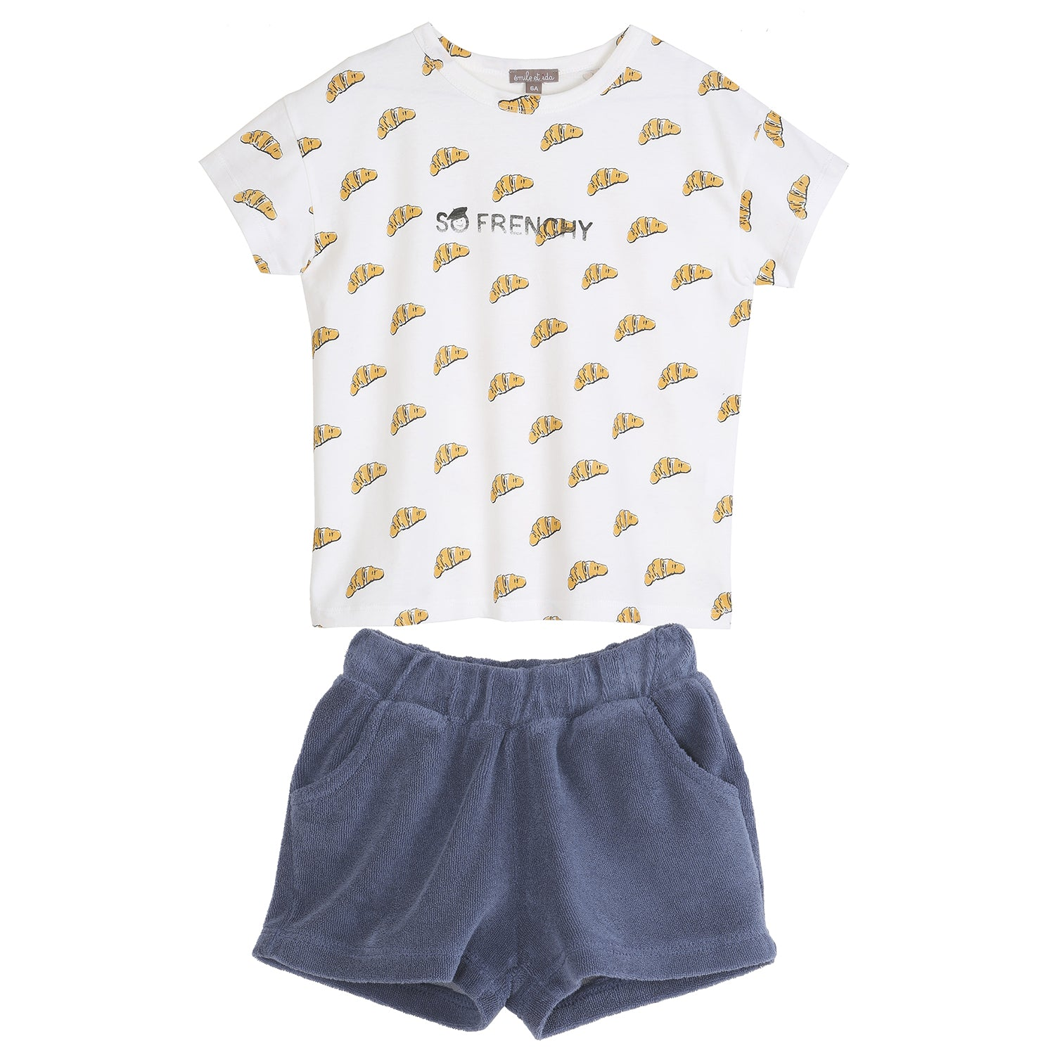 yoyo, kids, baby, boys, girls, emile et ida, summer, casual, lounge, croissant, graphic t-shirt, terry cloth, shorts, outfit, set