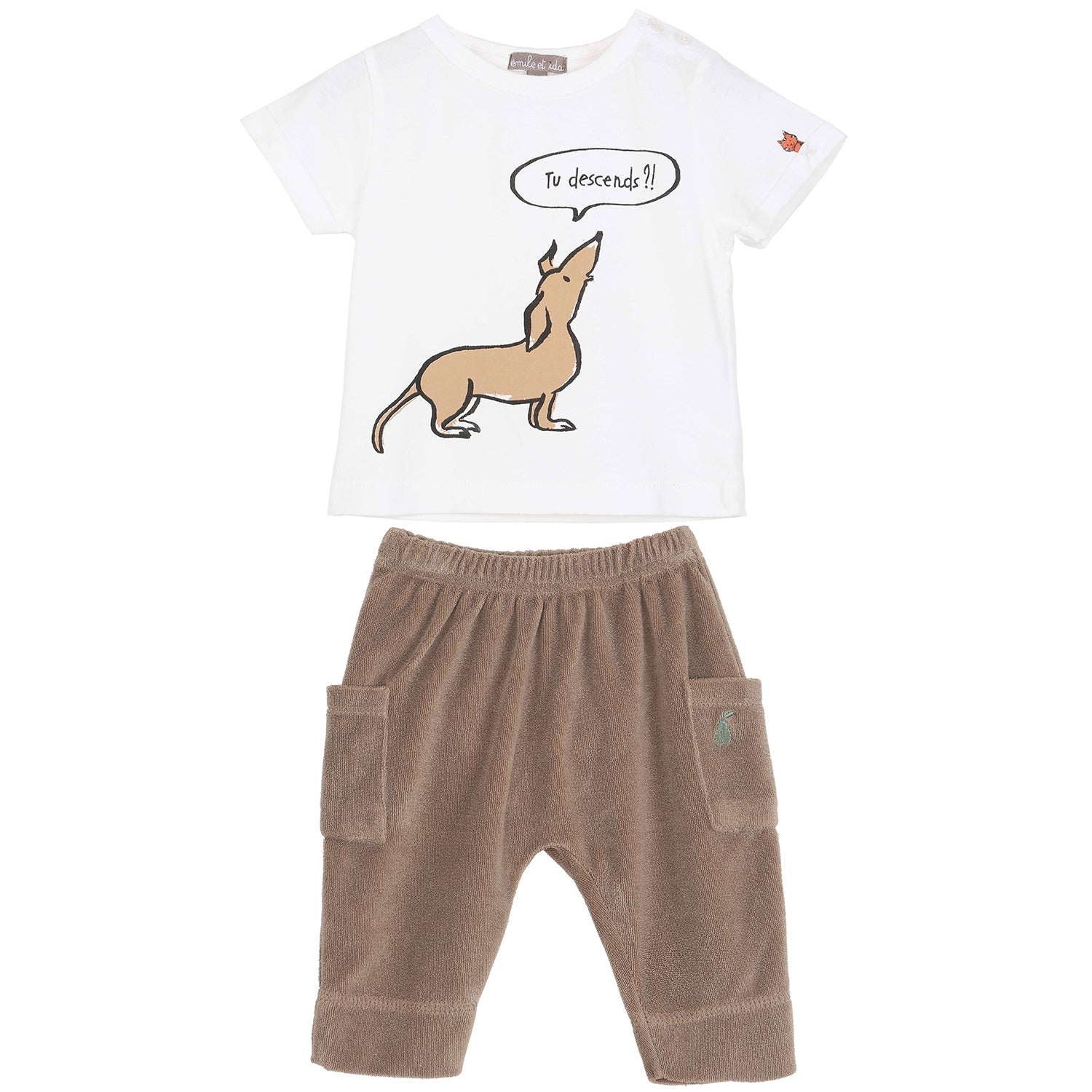 yoya, kids, baby, boys, girls, emile et ida, graphic print, dog, t-shirt, terry cloth, side pocket, pull on, pants, outfit, set