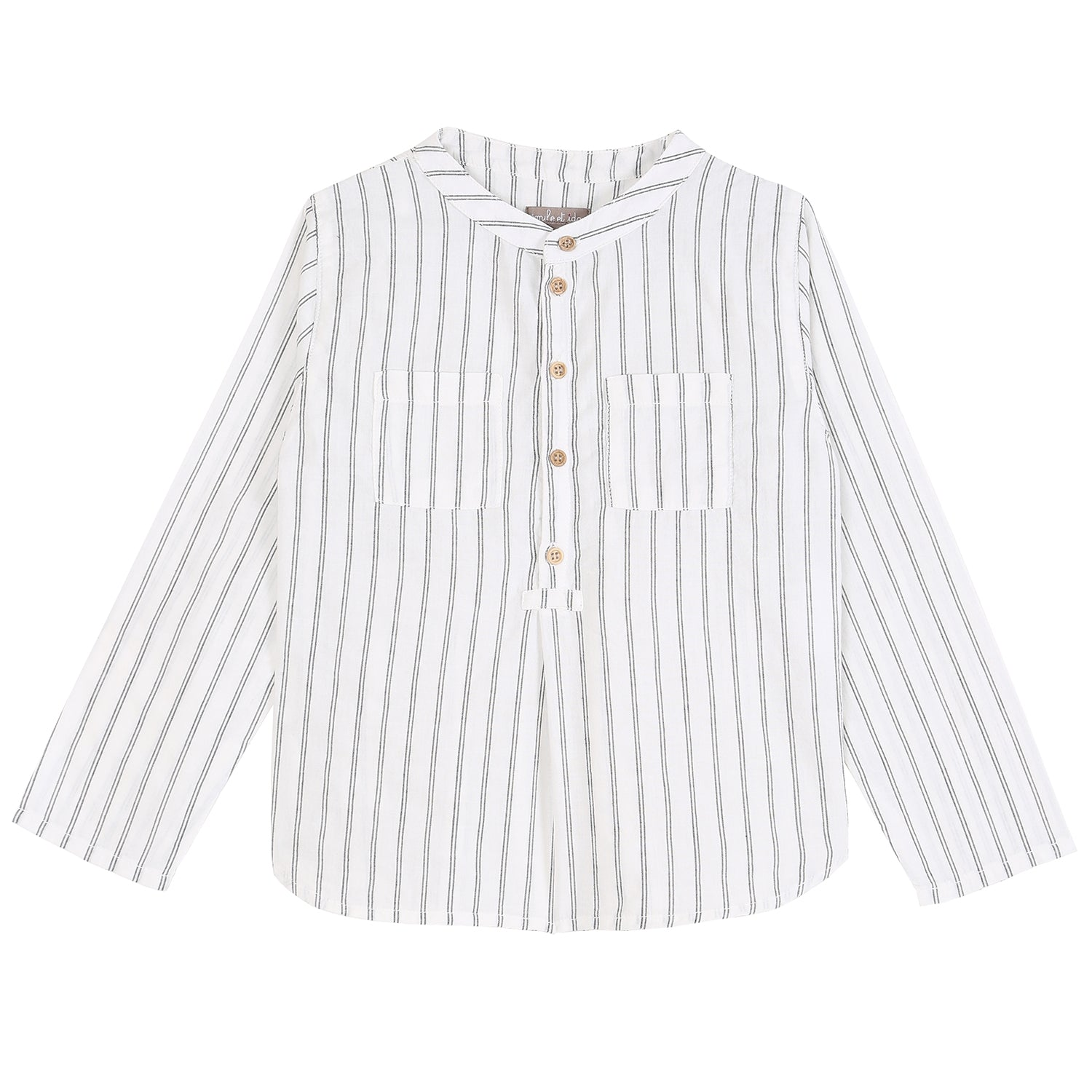 yoya, kids, boys, emile et ida, summer, casual, band collar, button front, long sleeved, shirt