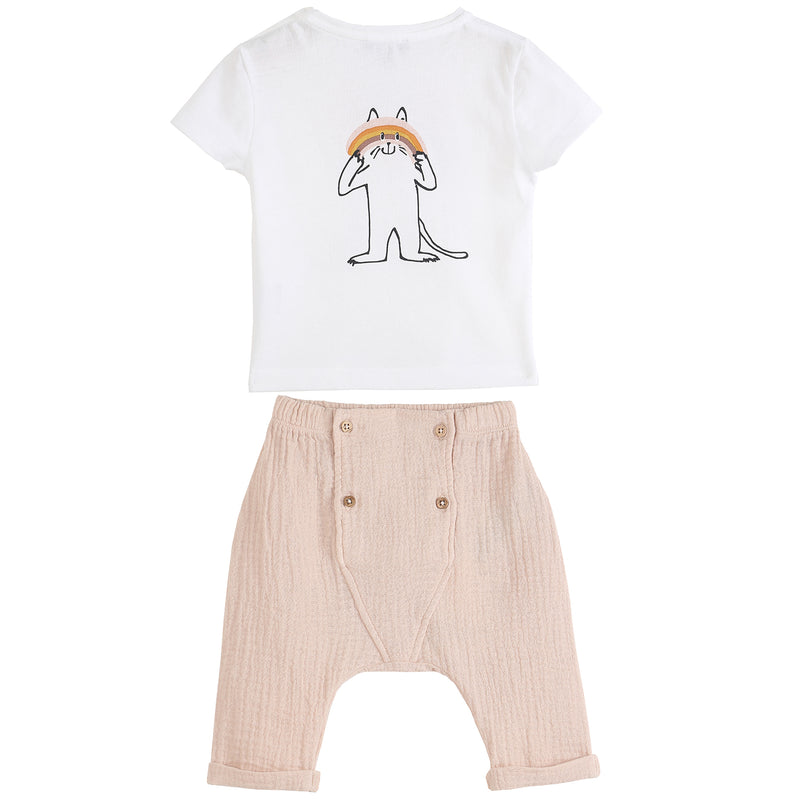 yoya, kids, baby, girls, emile et ida, summer, casual, graphic print, t-shirt, creped cotton, harem pants, outfit, set