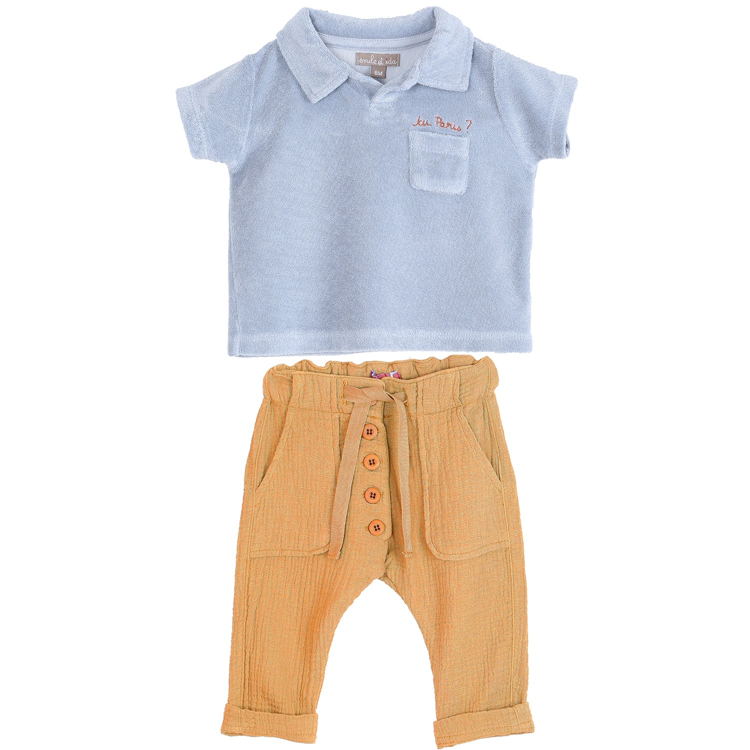 yoya, kids, baby, boys, emile et ida, casual, summer, terry cloth, slogan, polo shirt, creped cotton, button fly, drawstring, pants, outfit set