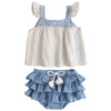 tocoto vintage chambray stripe baby set