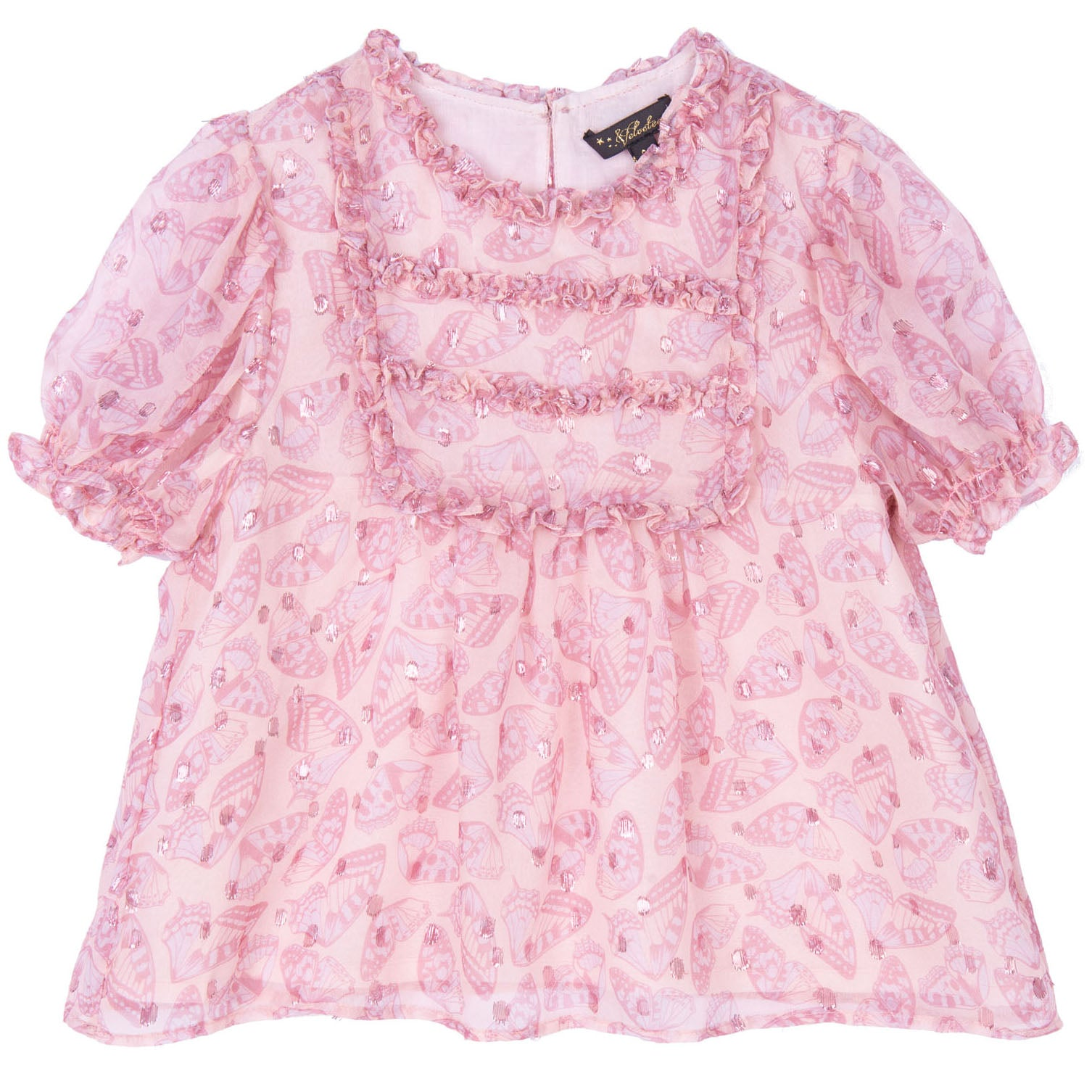 velveteen gracie puff sleeve lace frill top