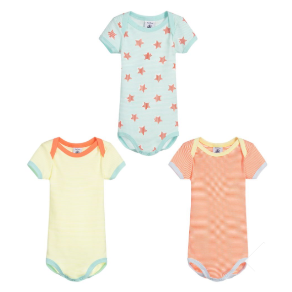 petit bateau 3-pack short-sleeved printed bodysuits