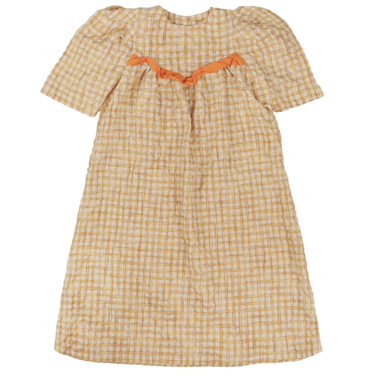 tambere gingham puff sleeve dress