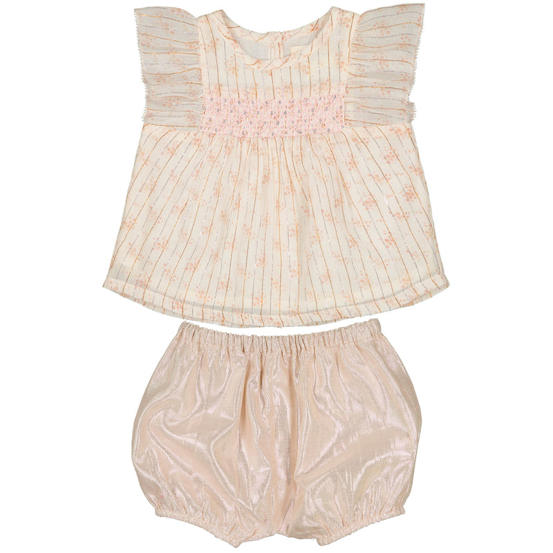 yoya, kids, baby, girls, louis louise, dressy, summer, ruffle shoulder, sleeveless, swing top, blouse, metallic lame, bloomer, shorts, outfit, set