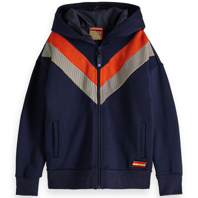 scotch shrunk color block zip cardigan