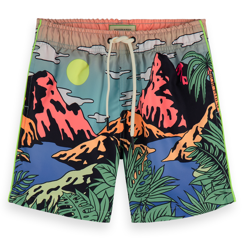 yoya, kids, boys, scotch shrunk, summer, graphic printed, drawstring, swim trunks, bathing suit