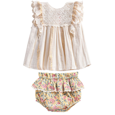 yoya, kids, baby, girls, louise misha, casual, summer, sleeveless, ruffle shoulder, lace, embroidered, swing dress, floral print, ruffle bloomer, shorts, outfit set