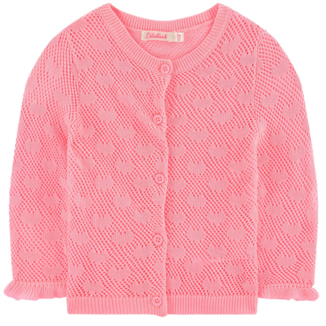 yoya, kids, baby, billieblush, casual, lightweight, summer, knit, open work, hearts, button front, cardigan, sweater