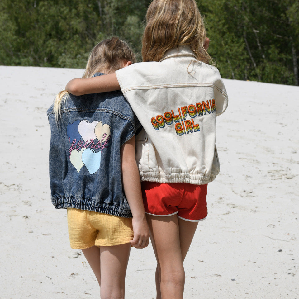 yoya, kids, girls, hundred pieces, casual, embroidered, slogan, sleeveless, denim vest jacket