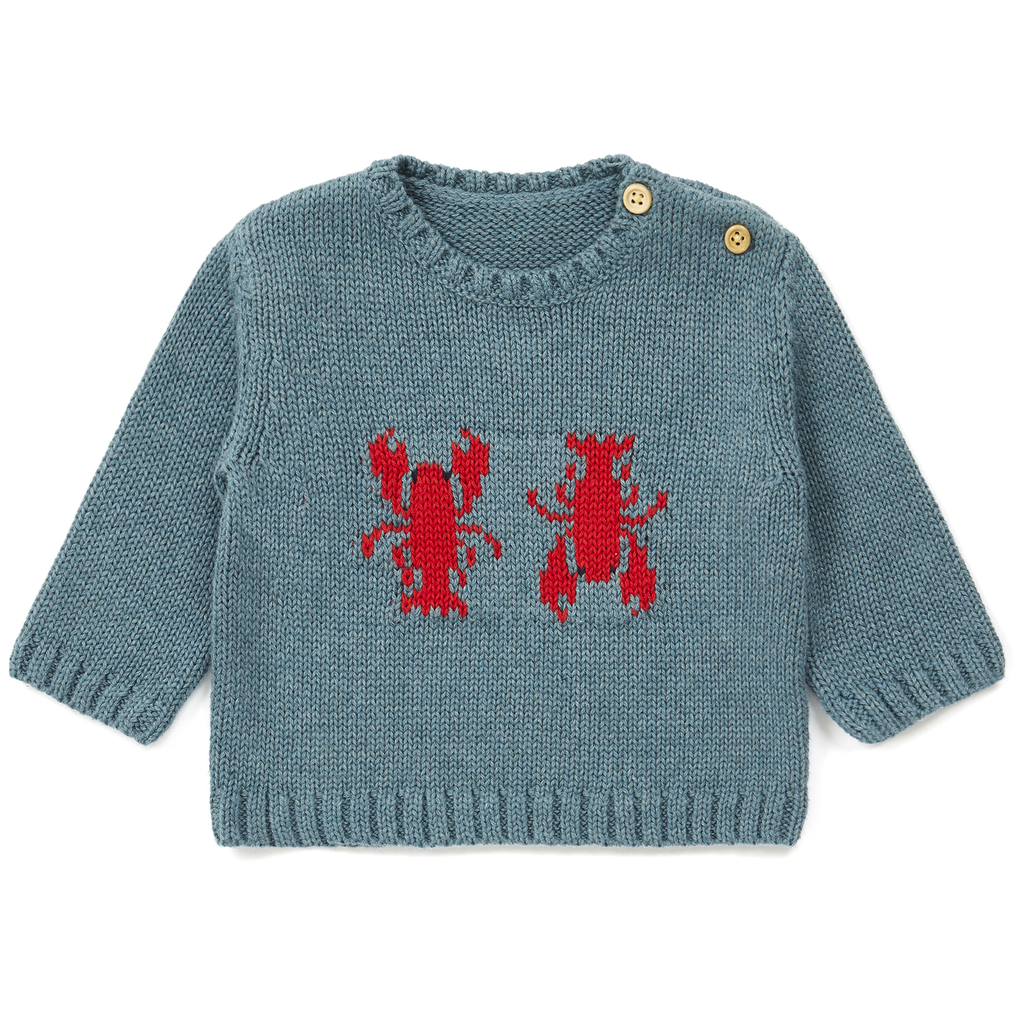 yoya, kids, baby, boys, girls, bonton, lightweight, casual, summer, knit, button shoulder, lobster, graphic, pullover, sweater