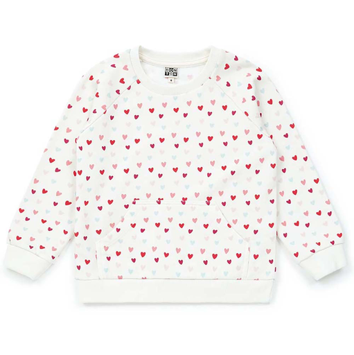 yoya, kids, girls, bonton, lightweight, summer, casual, heart, graphic print, pullover, sweat shirt