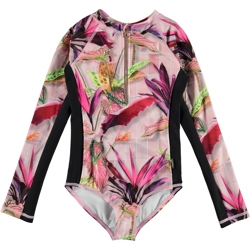yoya, kids, girls, molo, summer, swim, long sleeve, zip up, graphic print, rash guard, surf suit, bathing suit