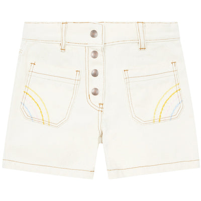 yoya, kids, girls, hundred pieces, casual, high waisted, embroidered, button fly, denim shorts
