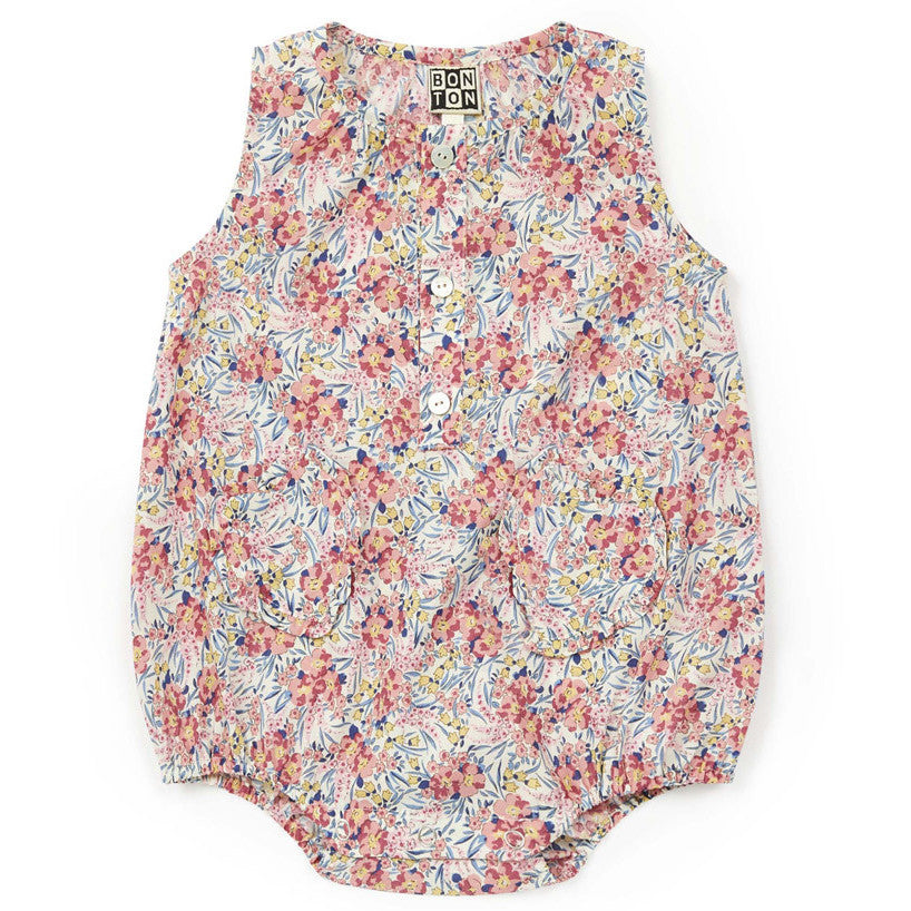 yoya, kids, baby, girls, bonton, summer, liberty, floral print, button front, one-piece, casual, bubble, romper, onesie, outfit