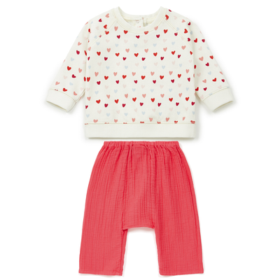 bonton heart sweat shirt baby set