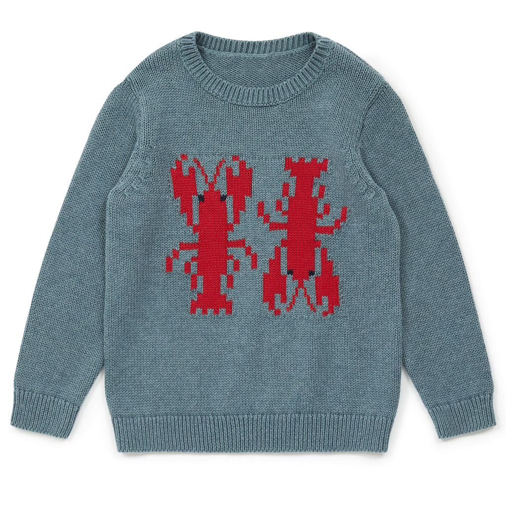 yoya, kids, boys, girls, bonton, lightweight, casual, summer, knit, button shoulder, lobster, graphic, pullover, sweater