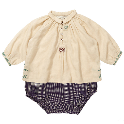 caramel baby & child moss baby top and ruby bloomer set