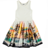 yoya, kids, girls, molo, summer, sleeveless graphic printed, fit and flare, full skirted, ribbed, dress
