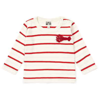 yoya, kids, girls, bonton, lightweight, summer, casual, mariniere, boatneck, striped, lobster, graphic, appliqué, long sleeved, tshirt