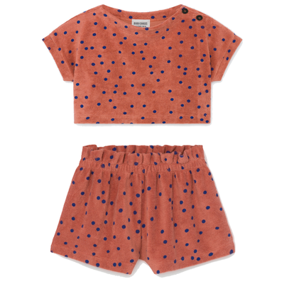 yoya, kids, girls, bobo choses, lightweight, summer, cotton, terrycloth, casual, coverup, top, shorts, matching, outfit, set