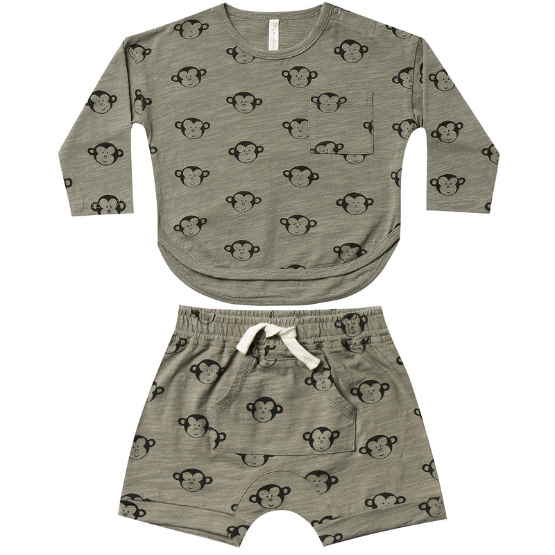 yoya, kids, baby, boys, rylee and cru, summer, casual, lounge, t-shirt, pull on shorts, two piece, outfit set
