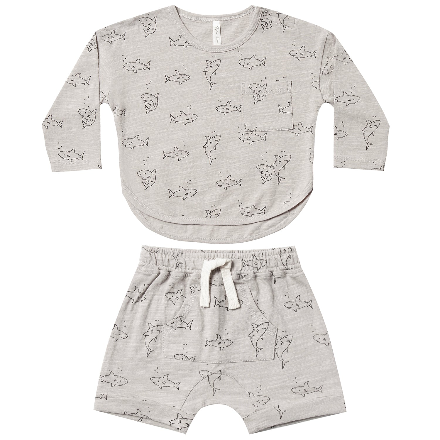 yoya, kids, baby, boys, rylee and cru, summer, casual, lounge, graphic printed, long sleeved, t-shirt, pull on, shorts, outfit set