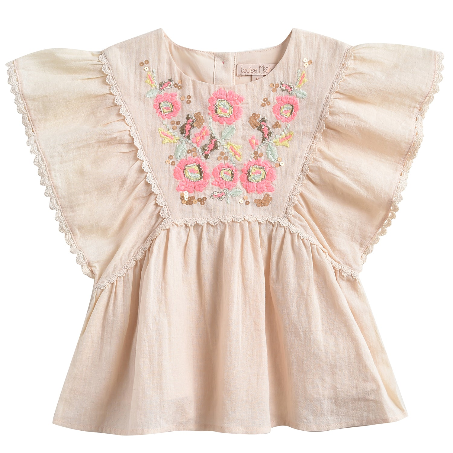 yoya, kids, girls, louise misha, casual, summer, sleeveless, ruffle shoulder, floral embroidered, swing tunic top