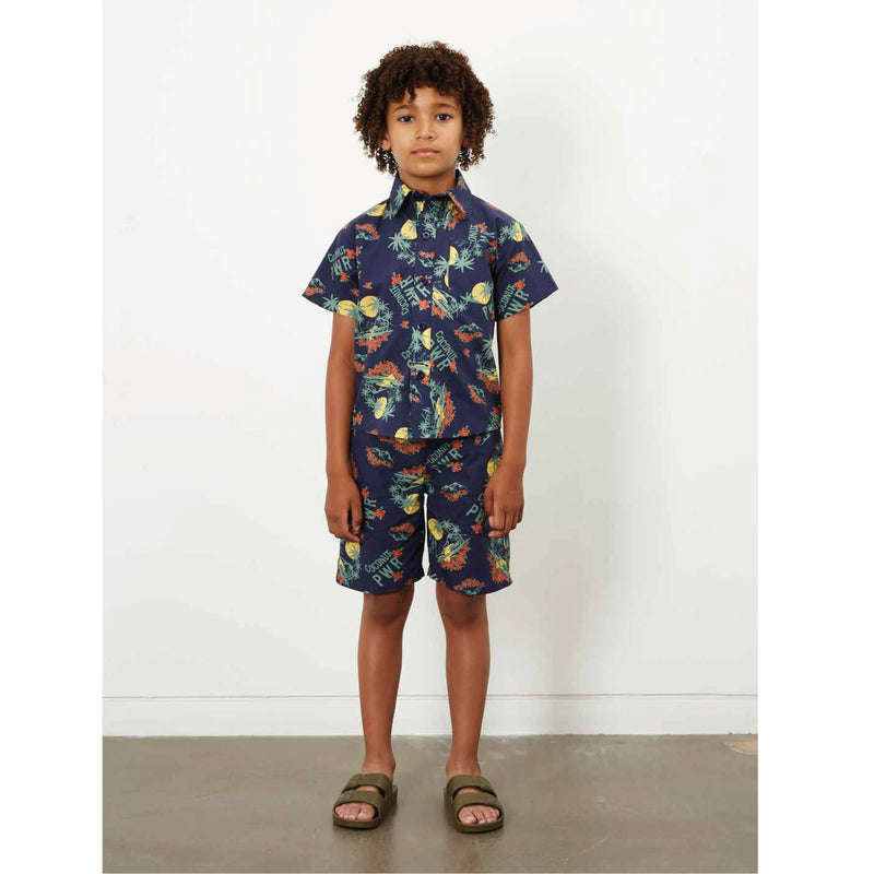 yoya, kids, boys, hundred pieces, casual, summer, button front, short sleeve, tropical print, shirt