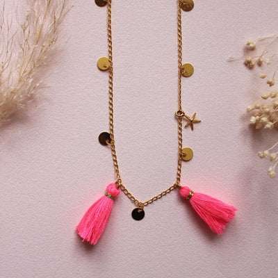 yoya, kids, girls, louise misha, summer, boho, neon tassel, gold plated, necklace, jewelry, accessories