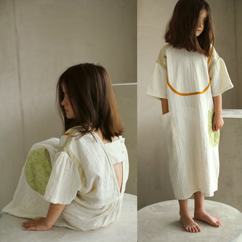 yoya, kids, girls, tambere, patchwork, summer, lightweight, short sleeve, open back, shift dress