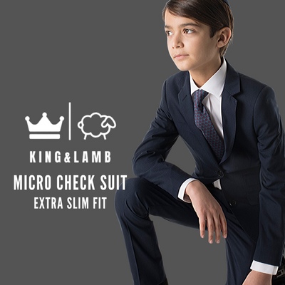 Boys King and Lamb Micro Check Washable Suit/Jacket/Pants