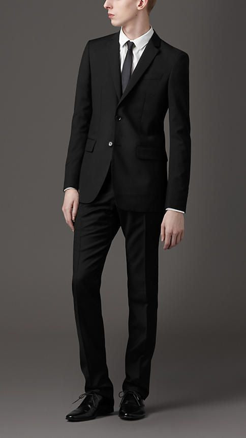 LEO Mens Black Wool Suit