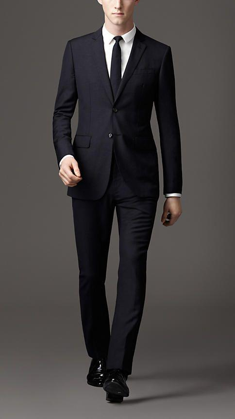 LEO Mens Dark Navy Wool Suit