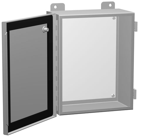 1418 N4 Series - Painted Steel Enclosures with Continuously Hinged Clamped Cover - Includes Inner Mounting Panel