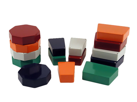 "Hammond Trapezoidal and Octagonal Painted Die-Cast ""Stomp Box"" Enclosures 1590-STOMP Series image"