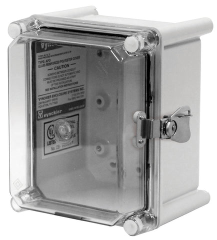 APO-CTHPL Series - Fiberglass Enclosures with Clear Screw Cover - Includes Hinge and Stainless Steel Padlockable Latches image