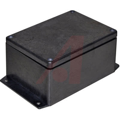BUD Industries AN-2855-AB Black Powder Coated IP68 Aluminum 5.83x4.25x2.95 enclosure with molded in mounting brackets Nema rated 4X, 6, 6P, 12, and 13 AN-2855-AB ($100 MINIMUM ON ORDERS) image