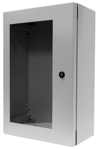 ARIA-ANBFPHA Series - Fiberglass Enclosures with Hinged Cover and Bonded Window - Includes Slotted Quarter-Turn Handle (Internal 3-Point Latching Mechanism) and Aluminum Swing-Panel image