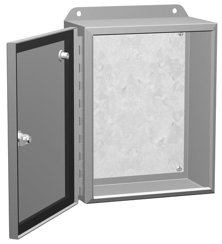 Eclipse Junior Series - Painted Steel Enclosures with Hinged Cover and Quarter-Turn Latch - Includes Inner Mounting Panel