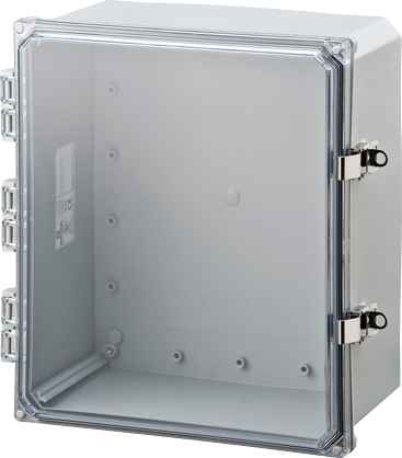 ELITE-HCLL Series - Polycarbonate Enclosures with Clear Hinged Cover, Locking Latch, and Mounting Feet