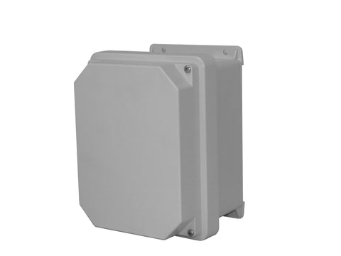 RVJB-HW Series - Fiberglass Enclosures with Raised Cover and Bonded Window - Includes Stainless Steel Continuous Hinge and Stainless Steel Cover Screws image