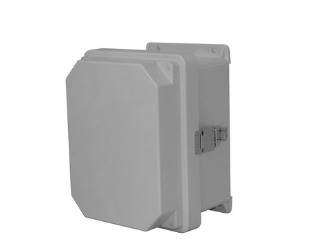 RVJB-NHWPL Series - Fiberglass Enclosures with Raised Cover and Bonded Window - Includes Non-Metallic Hinges and Stainless Steel Padlockable Latches image